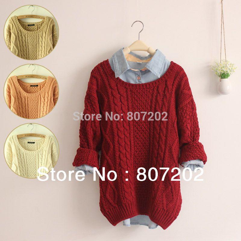 Newest 2016 Fashion warm winter pullover women sweater women Vintage  Knitwear Long sleeve o-neck wool oversized knitted sweaters 23d9f0125