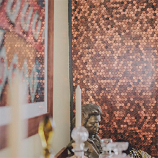 Accent Wall Made Of Pennies!. Inspiring Innovation Abounds