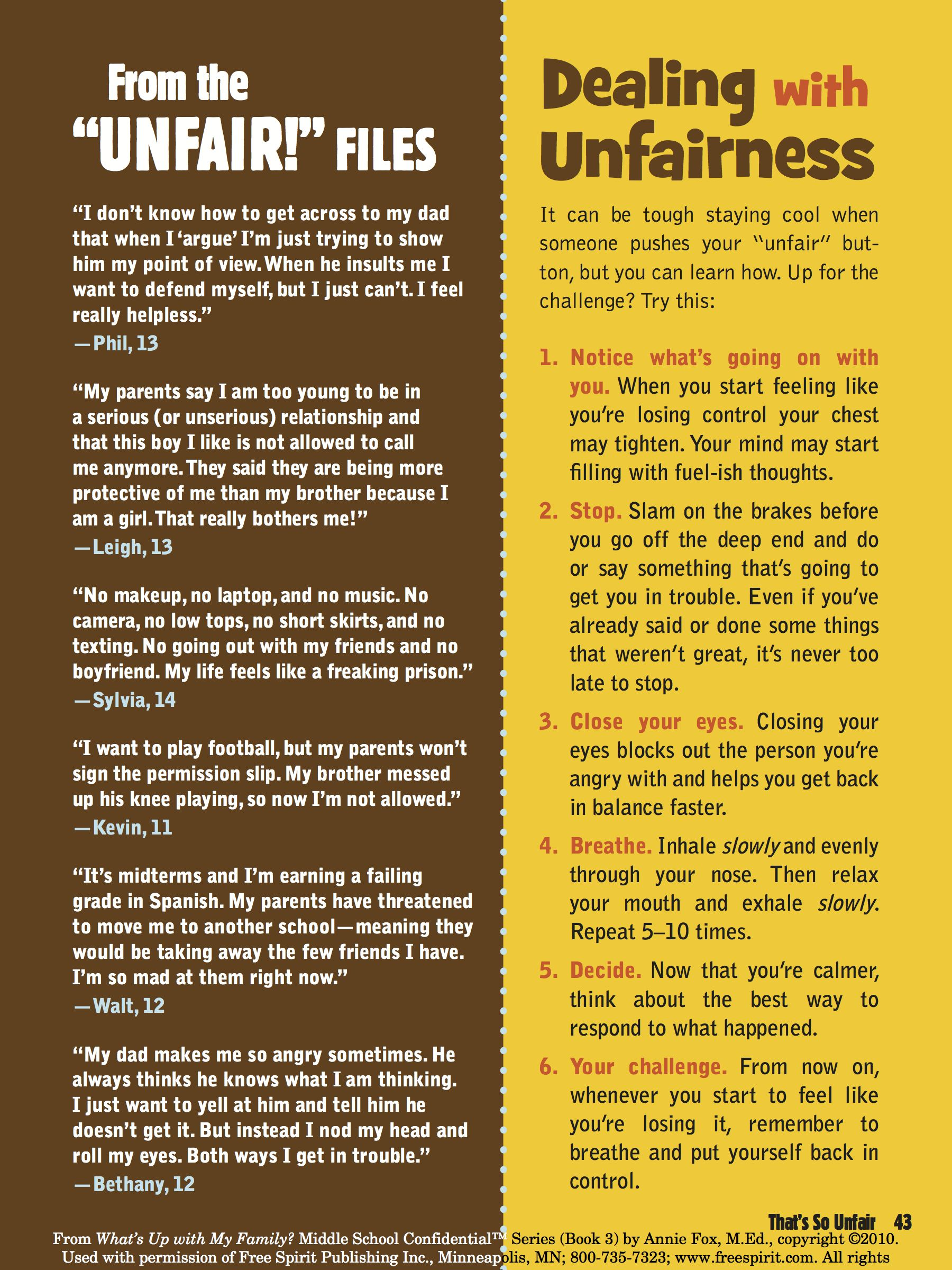Download Dealing With Unfairness A Free Printable Page