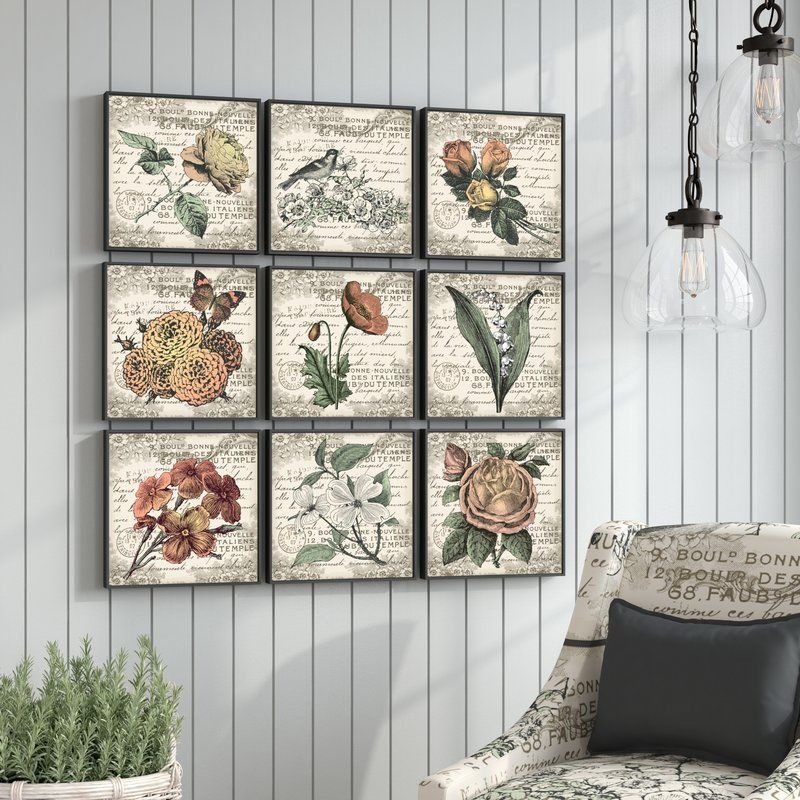 French Botanical Illustrations 9 Piece Canvas Wall Art Set French Country Decorating French Country Wall Decor Country House Decor