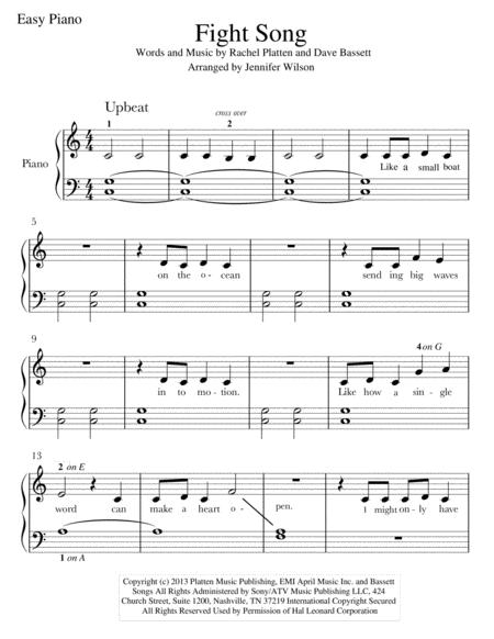 "Bien connu Fight Song"" sheet music for Easy Piano. #music #fightsong #piano  GV66"