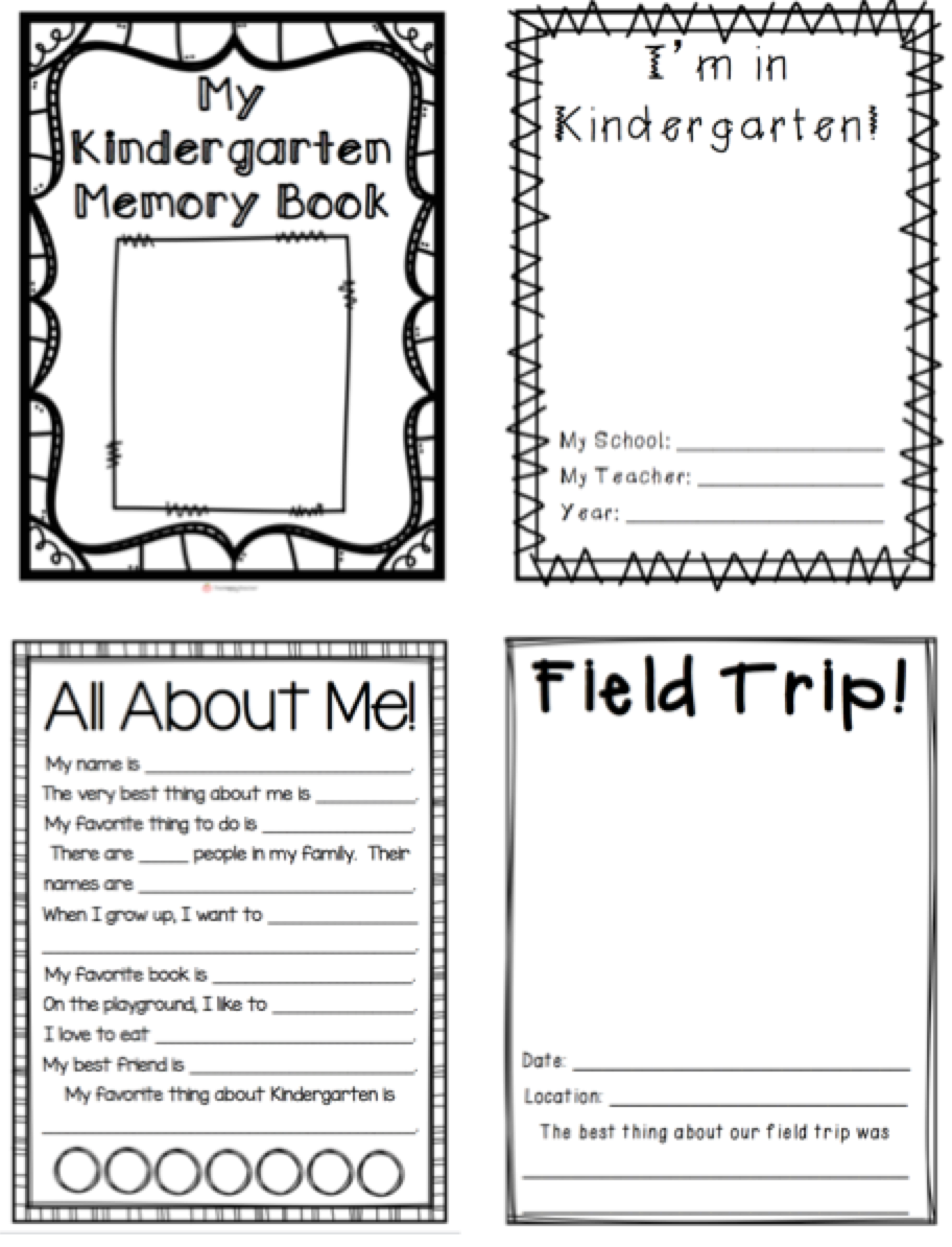 my kindergarten memory book 32 pages blackline to create a
