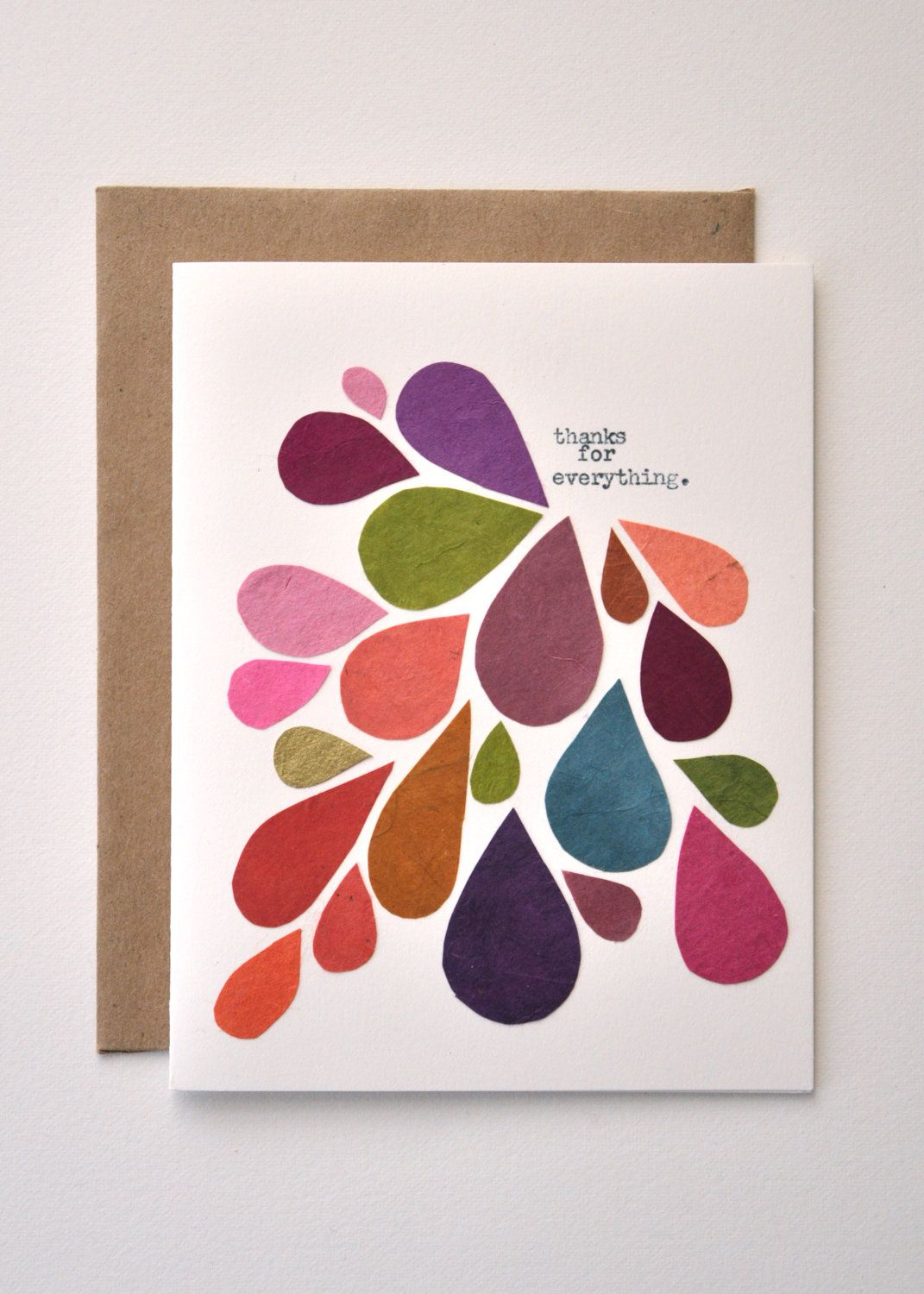 Thank You Card Handmade Greeting Card Abstract Mod Fall