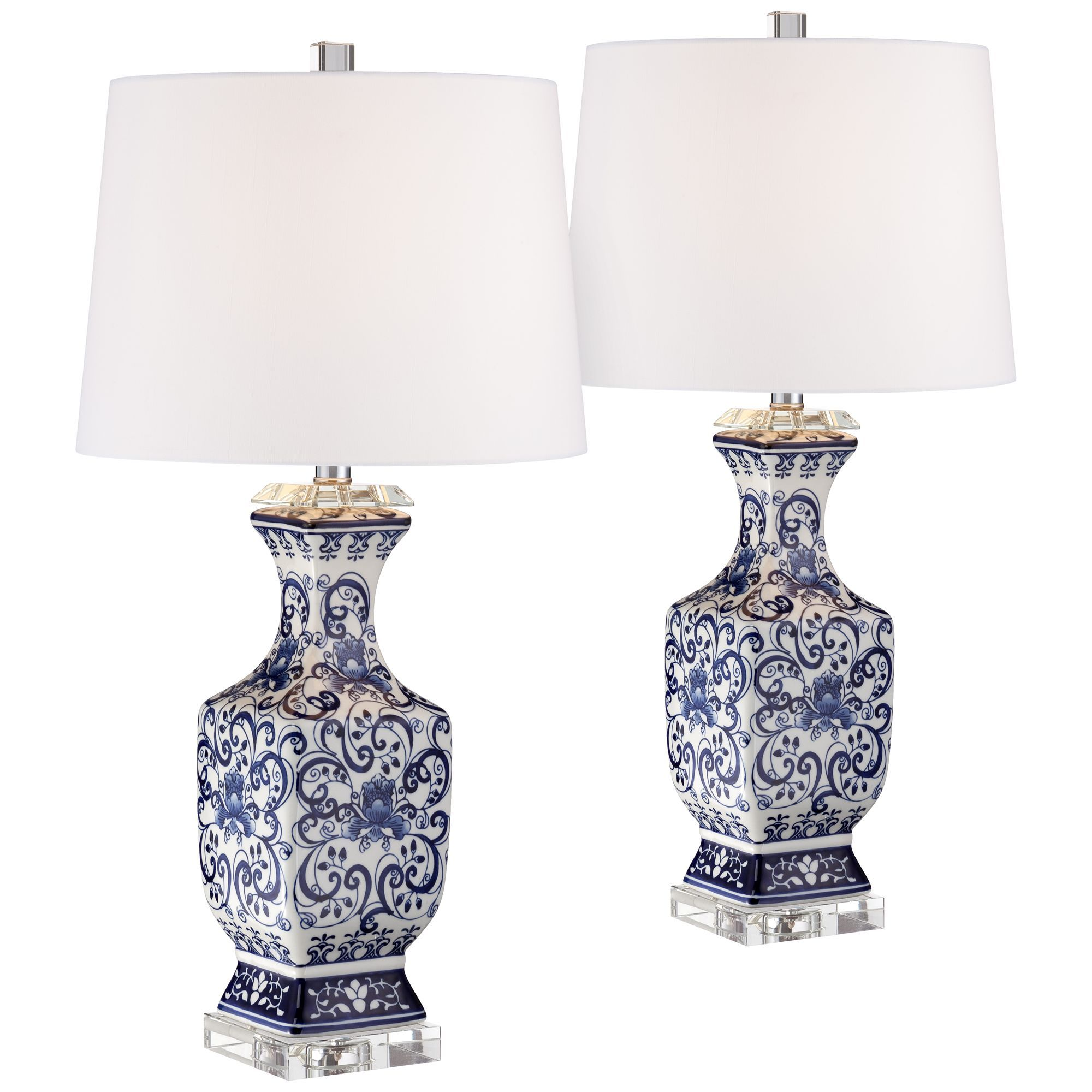 Blue And White Floral Porcelain Temple Jar Table Lamp G7072 Lamps Plus Jar Table Lamp Lamp Blue And White
