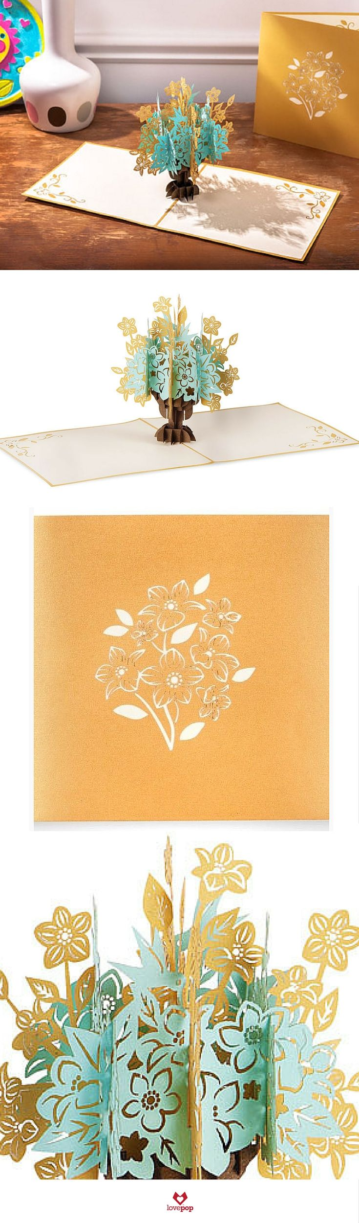 Floral bouquet gold art flowers d and kirigami