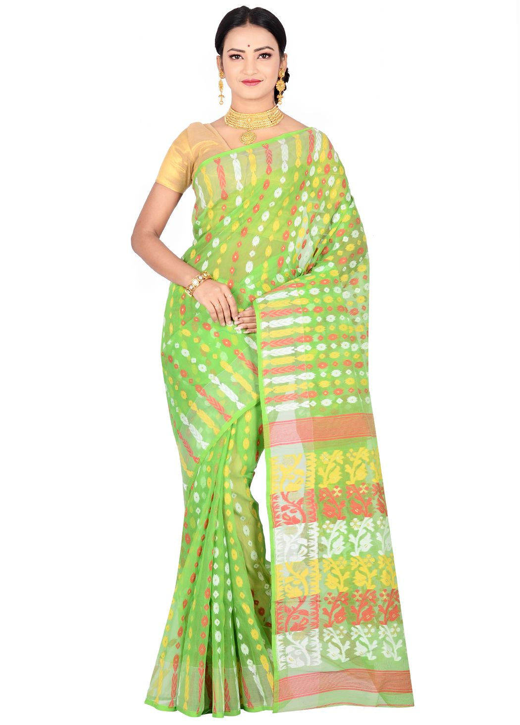 8632f1e62ee24 Green pure tant cotton dhakai jamdani saree displays buttis on the body and  floral designed pallu