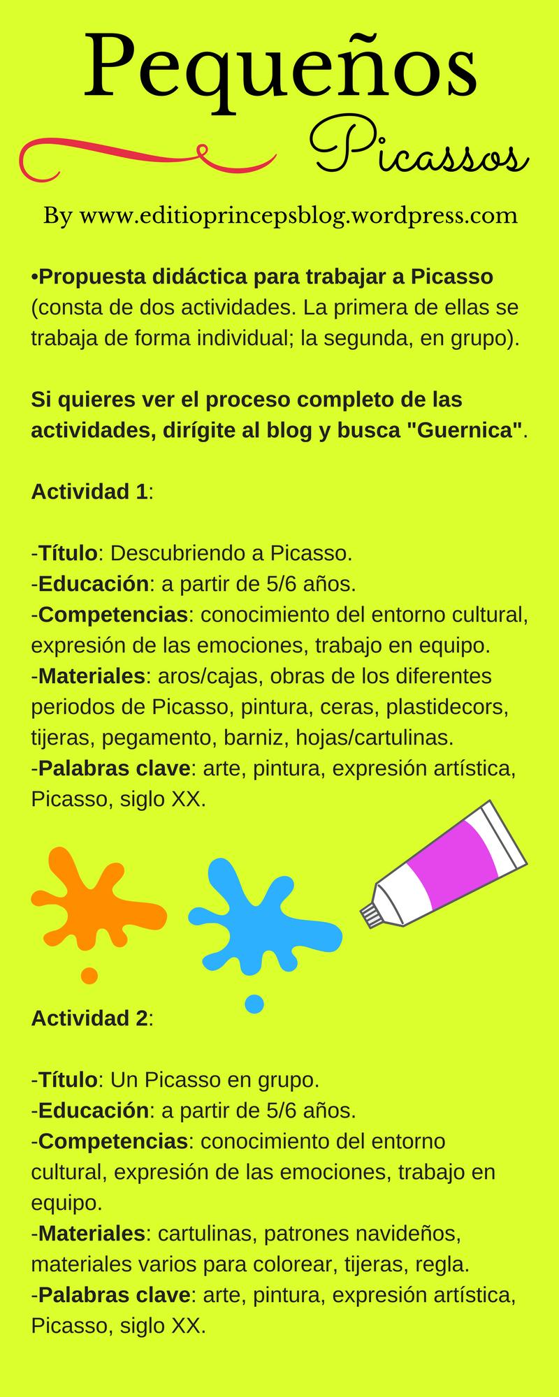 Propuesta #didáctica para trabajar a #Picasso en clase con los más ...