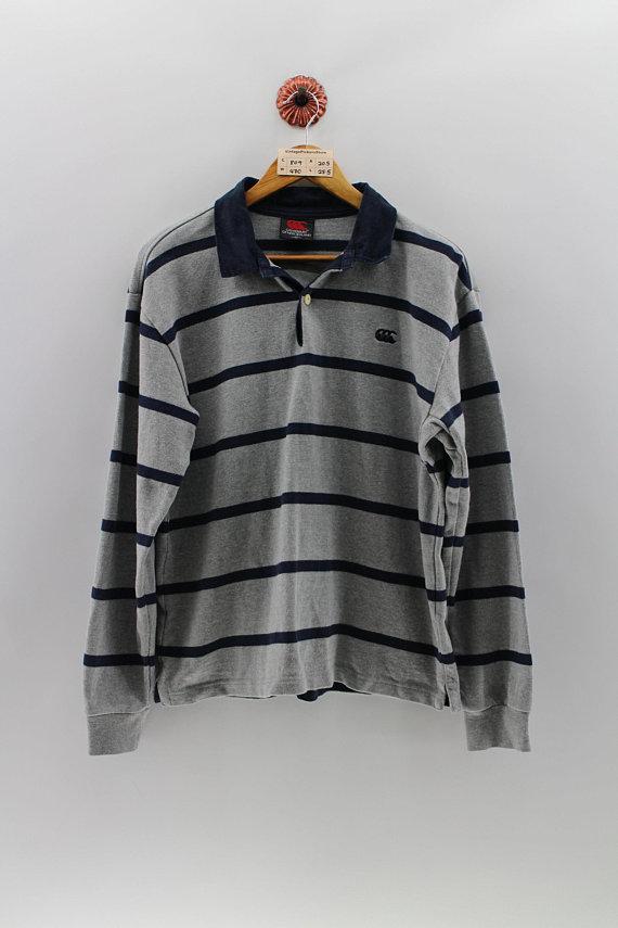 5925dec2a30 Vintage 90's CANTERBURY New Zealand Polo Shirt Men Medium All Black Rugby  Polo Stripes Shirt Long Sl