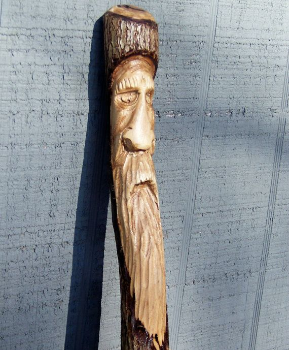 Hand carved wood spirit walking stick free by