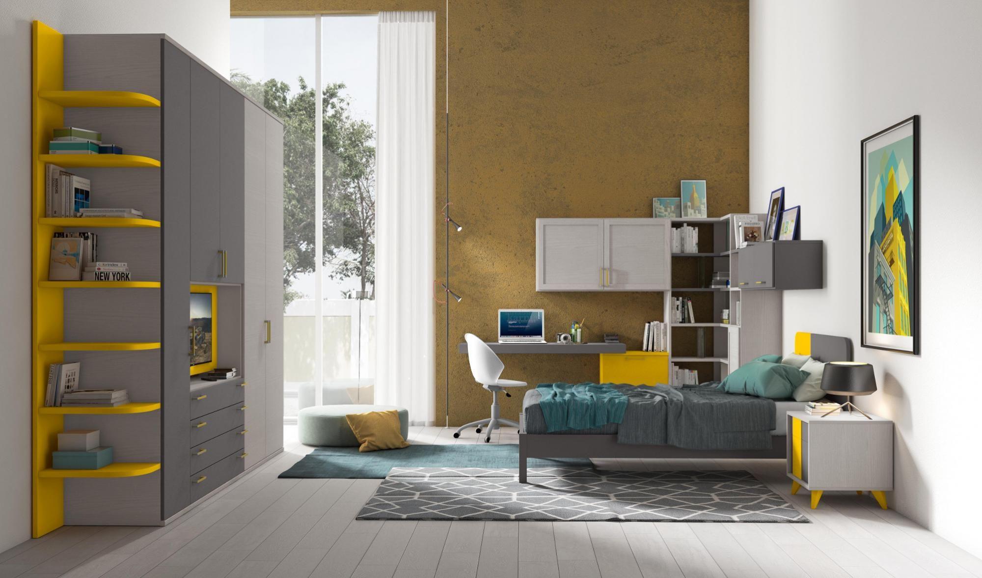 Finiture grigio, giallo e bianco Arredo camere da letto per ...