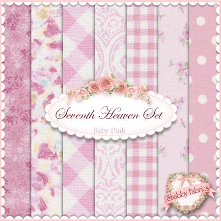 """Seventh Heaven 7 FQ Set - Baby Pink: This Seventh Heaven Set is an exclusive Shabby Fabrics creation!  We have taken the guesswork out of finding coordinating fabrics.  This set contains 7 coordinating fat quarters, each measuring approximately 18"""" x 21""""."""