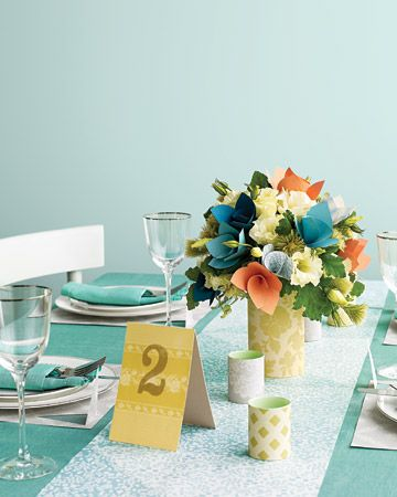 Even the centerpiece in this tablescape is paper