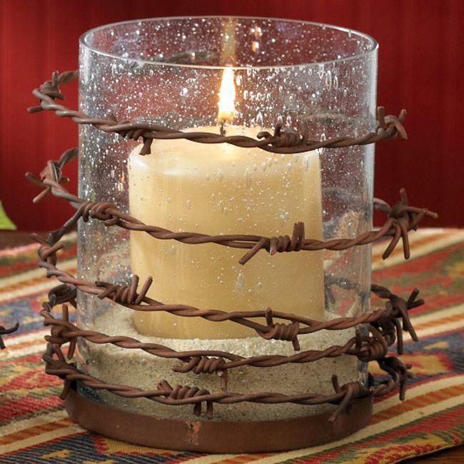 Barbed wire pillar candle holder velas candelabros y for Muebles barbed