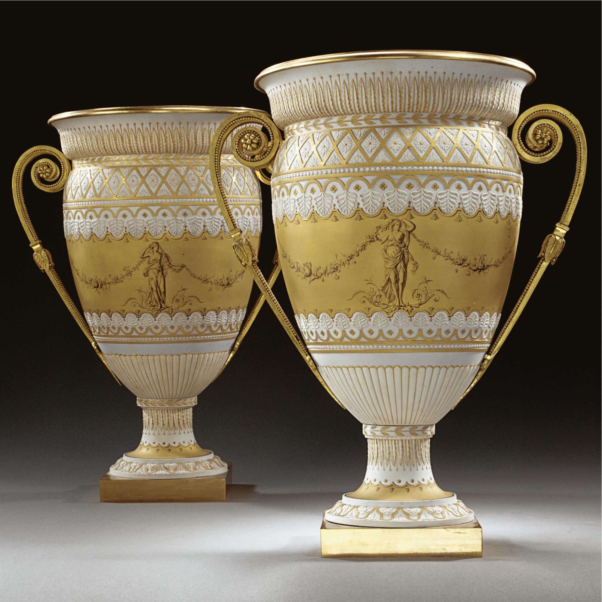 A Pair Of Sèvres Gilt-bronze-mounted Biscuit Vases (Vases