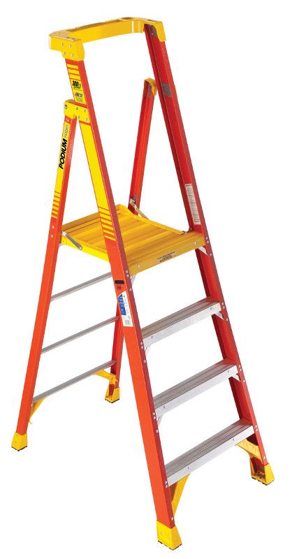 Werner Podium Ladders Feature An Extra Large Platform With Toe Guard That Makes You Feel Like You Re Working On The Ground Fiberglass Ladder Podium