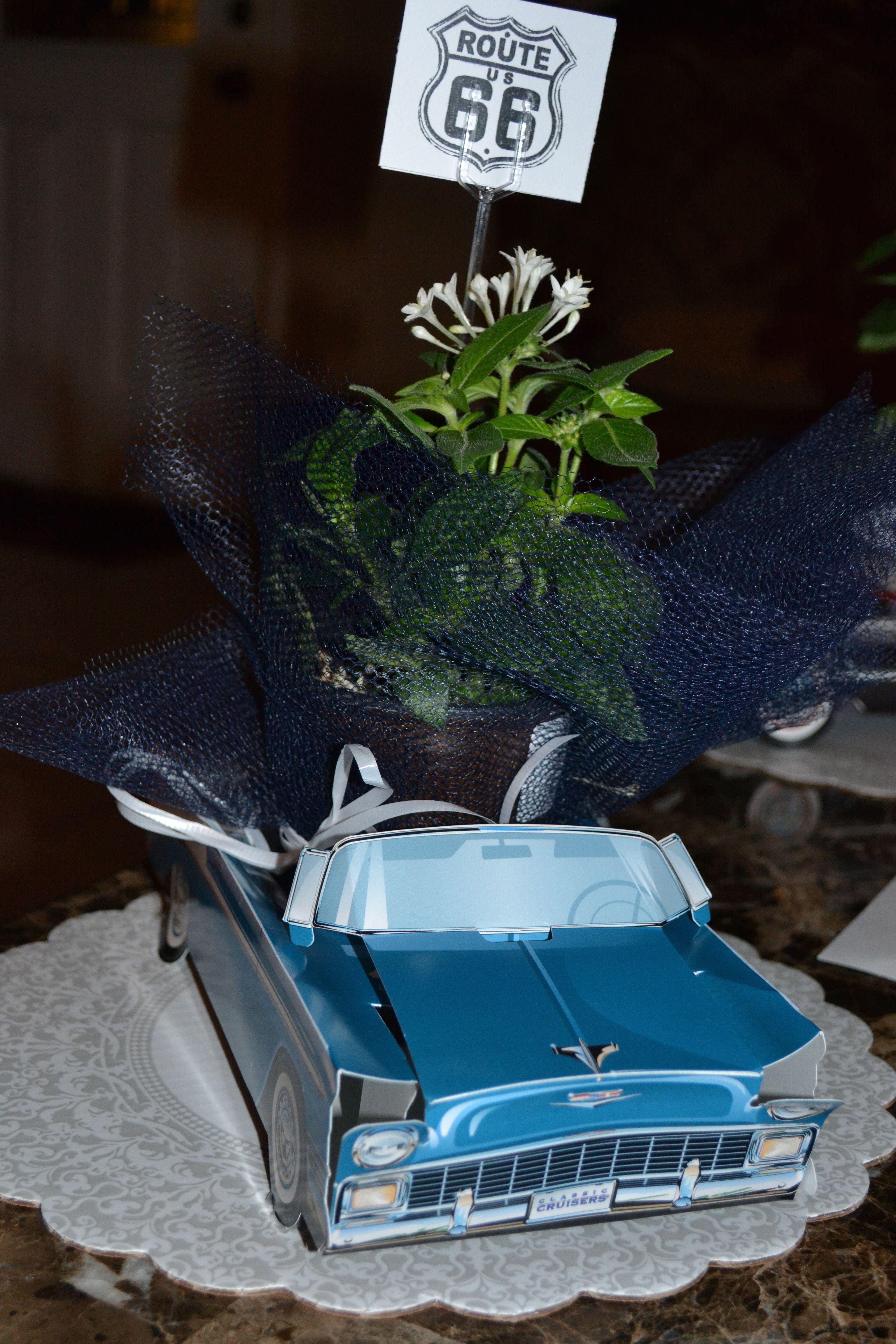 classic car centerpiece table decor   Cars birthday parties, Car centerpieces, Car themed parties