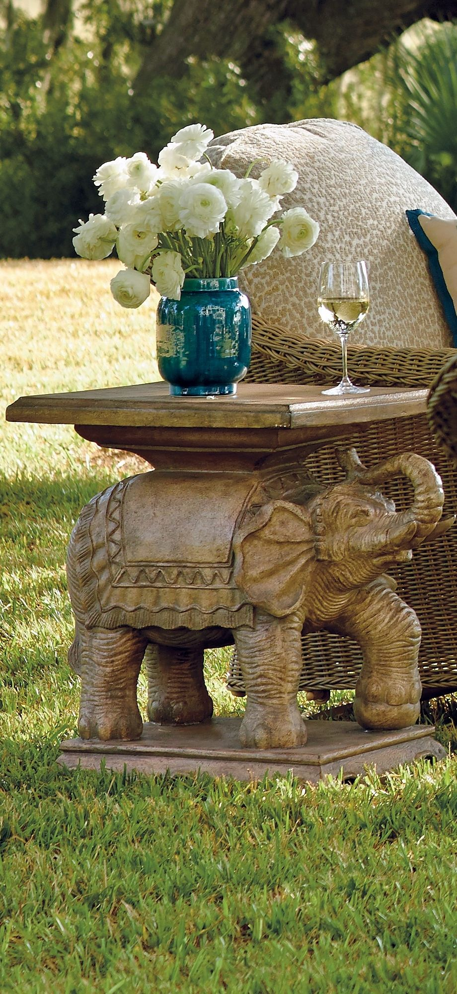 With an elephant's every wrinkle captured in dimensional detail, our Elephant End Table delivers dramatic design in any outdoor space. | Frontgate: Live Beautifully Outdoors
