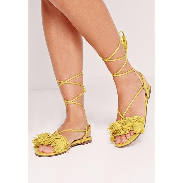Missguided Tassel Front Flat Sandals  ($32) ❤ liked on Polyvore featuring shoes, sandals, yellow, yellow shoes, lace-up sandals, laced sandals, tassel sandals and tassel shoes