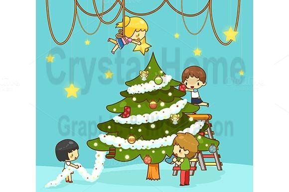Cartoon Kids Decorate Christmas Tree Christmas Tree Decorations Kids Decor Cartoon Kids