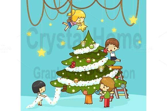 Christmas Lights Cartoon Tree Decoration Color Decorative Tree Decorate The Tree Christmas C Christmas Tree Pictures Diy Christmas Paintings Christmas Cartoons