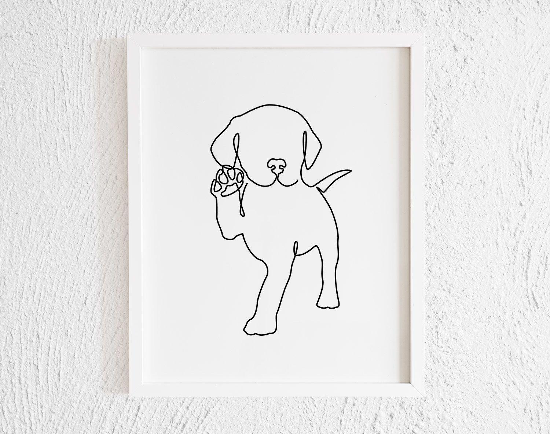 Labrador Retriever Puppy line Art Drawing Print. Printable | Etsy