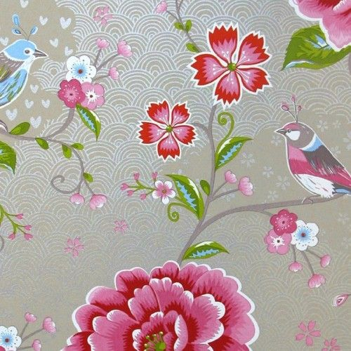Eijffinger Pip Behang.Pi65 Eijffinger Pip Studio Birds In Paradise Khaki Pip Behang In