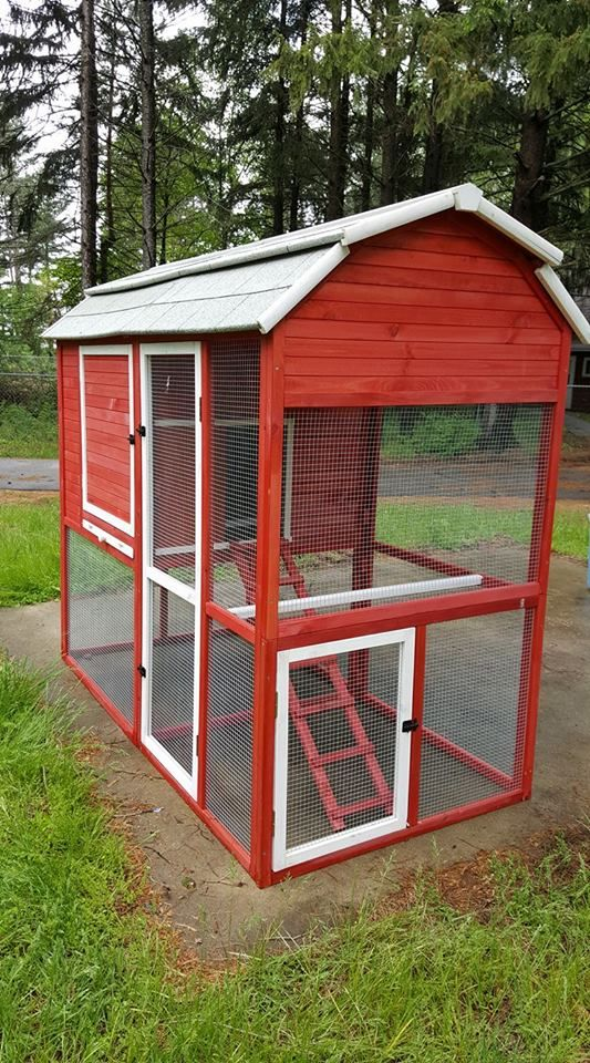 Walk In Red Barn Chicken Coop Walk In Chicken Coop Building A Chicken Coop Chicken Coop