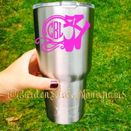 Yeti Decal Yeti Vinyl Dancer Ballet By GardenStateMonograms YETI - Custom vinyl decals for cups