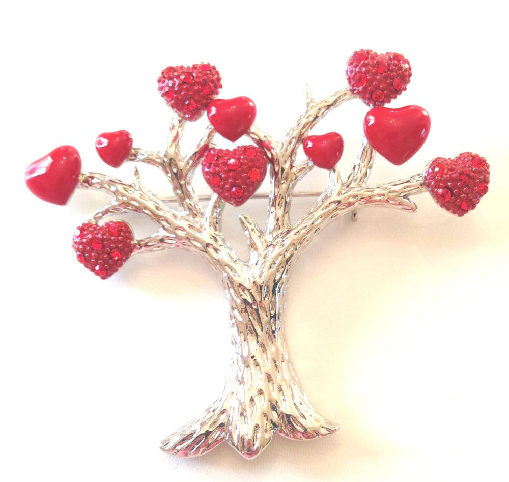 Red+Enamel+And+Crystal+Love+Heart+Valentine+Tree+Of+Life+Pin+Brooch+Broach+#BaublesBanglesBeads