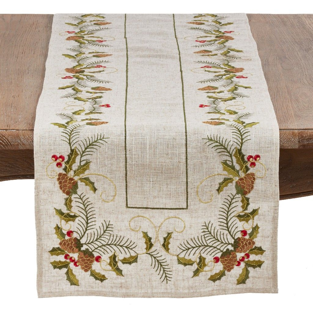 Christmas Table Runner W Embroidered Pinecone Holly Design Saro Lifestyle 1851 N1668b Table Runners Table Runner Size