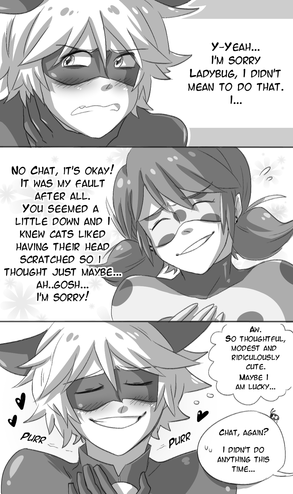 A Little Comic About How Chatu0027s Cat Tendencies Can Sometimes Embarrass Him.  Especially Around Ladybug. U201d