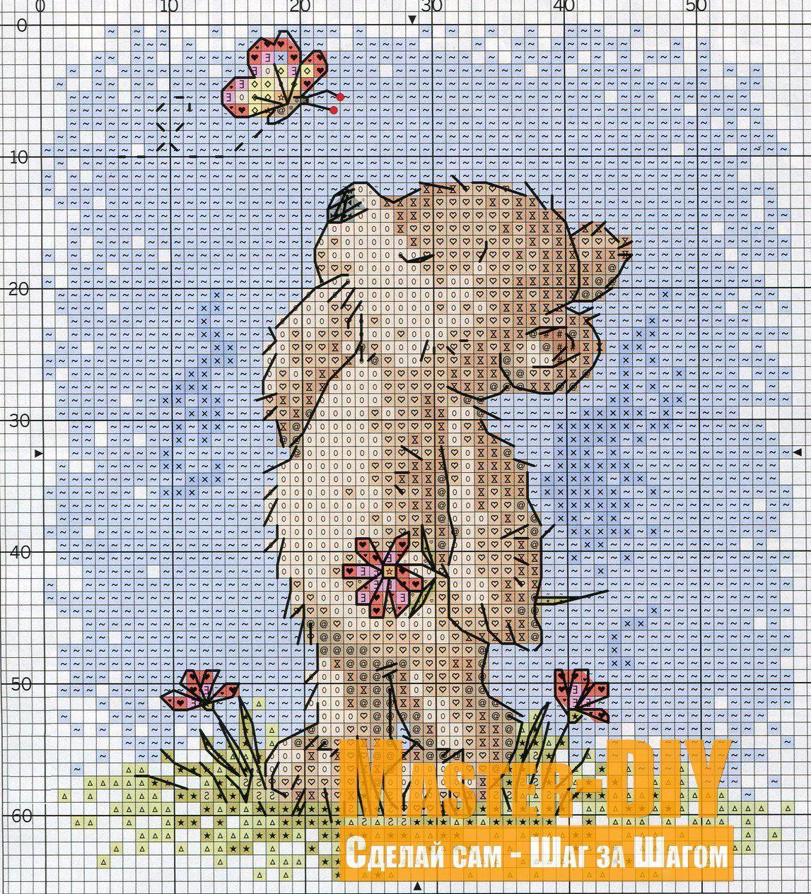 Медвежата схема вышивки
