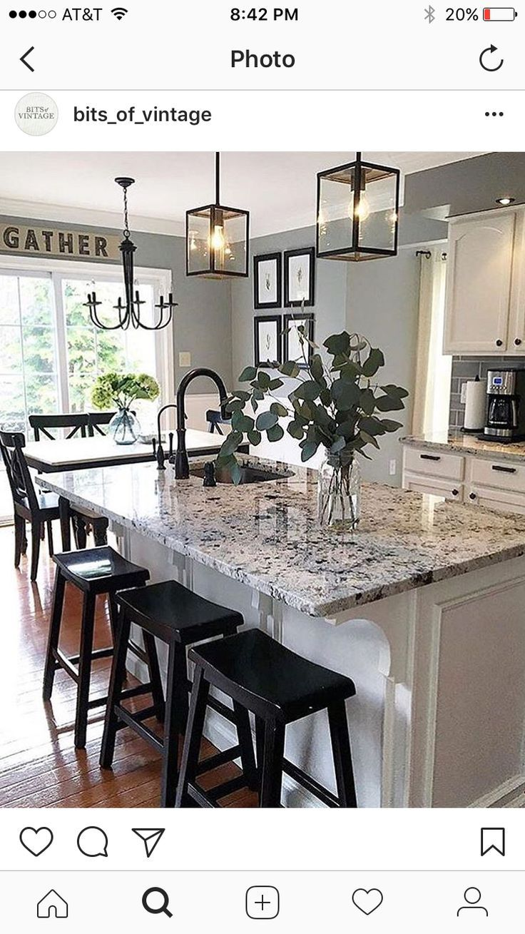 Love the counters, backsplash and paint with the white cabinets #farmhousekitchencountertops