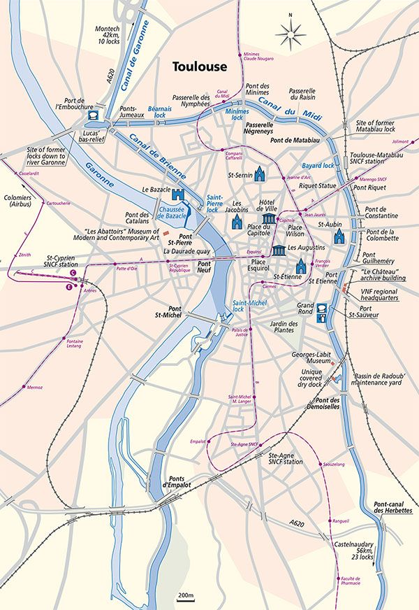 Toulouse Map Waterways France Pinterest Canal du midi
