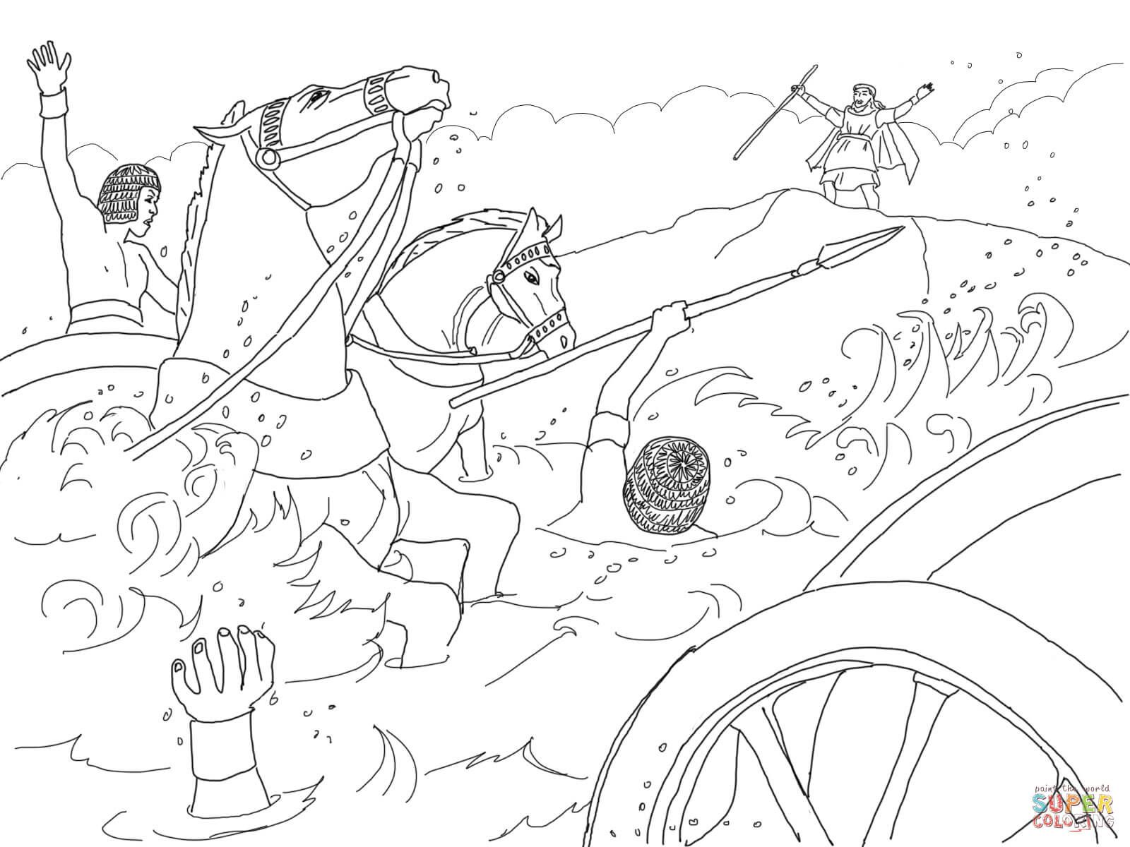 Israelites Crossing The Red Sea Coloring Page Az Coloring Pages