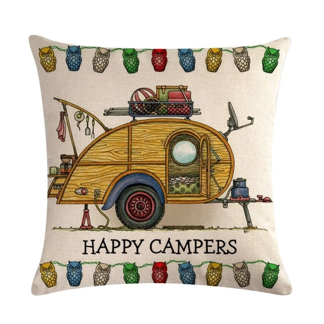 Happy Campers Car Pillow Case Cotton Linen Sofa Home Decorative Cushion  Happy Campers Car Pillow