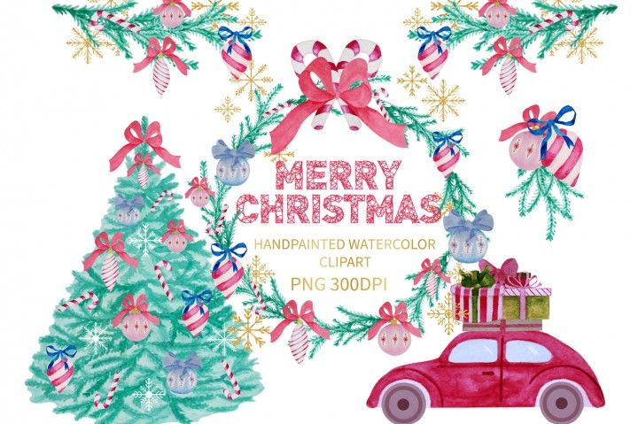 Watercolor Christmas Clipart, Xmas Clipart By Annakristal