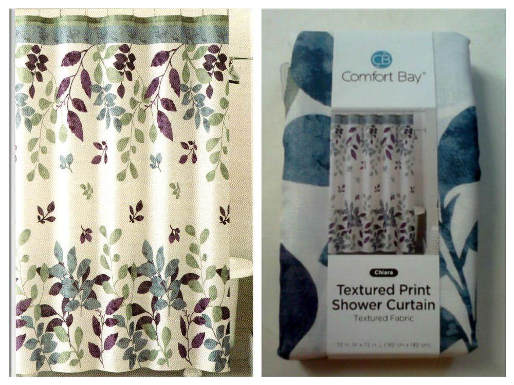 Comfort Bay Chiara Fabric Shower Curtain Textured Print Polyester MultiColor 72 ComfortBay Modern