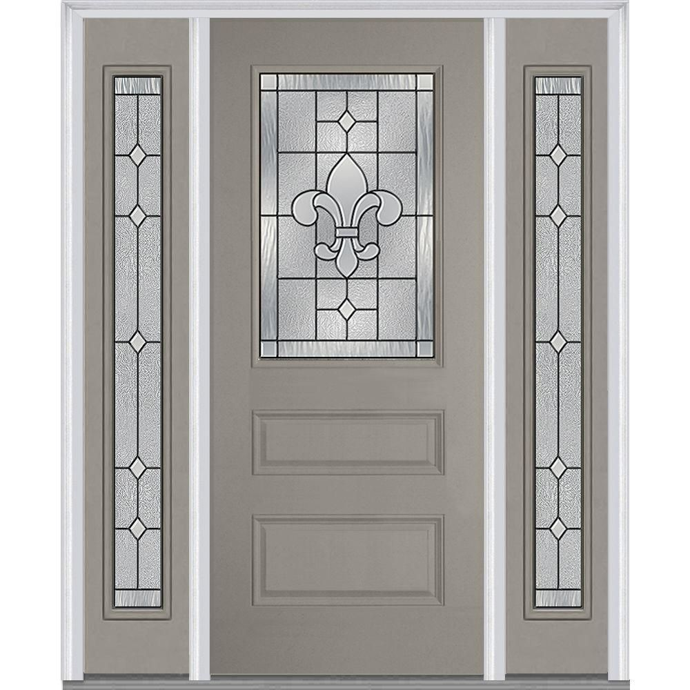 Milliken Millwork 68 5 In X 81 75 In Carrollton Decorative Glass 1 2 Lite Painted Fiberglass Smooth Exterior Door With Sidelites Exterior Doors Glass Door