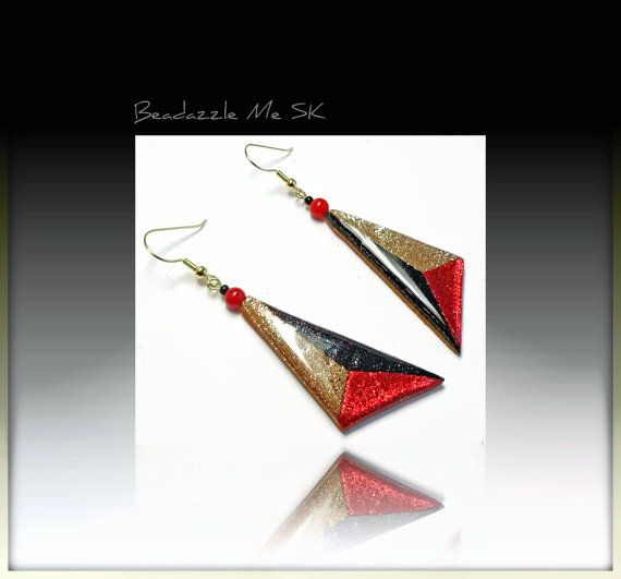 Red Triangle Bold Colorblock Dangle Earrings by BeadazzleMe, $16.00