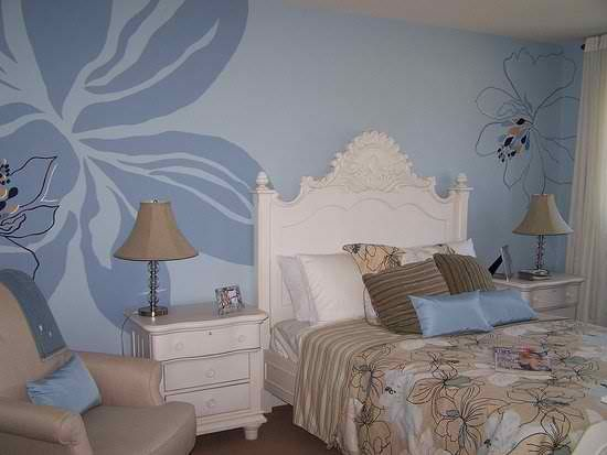 Wall Painting Designs For Bedrooms Extraordinary Bedroom Wall Paint Designi Like The Hawaiian Flower  My Style Decorating Inspiration