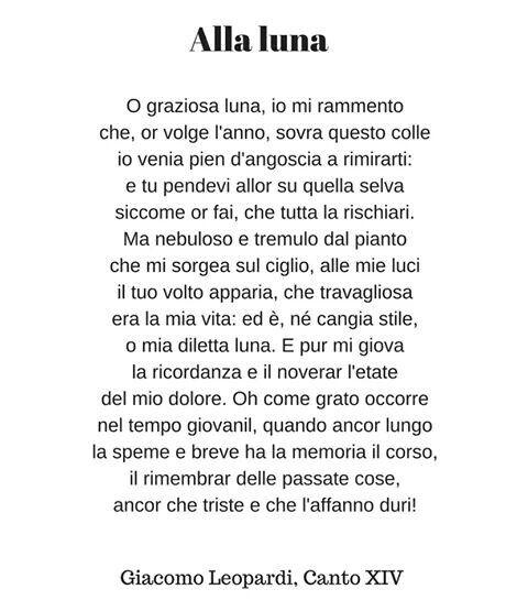 Alla Luna G Leopardi Brevi Poesie Citazioni Poetiche Poesia