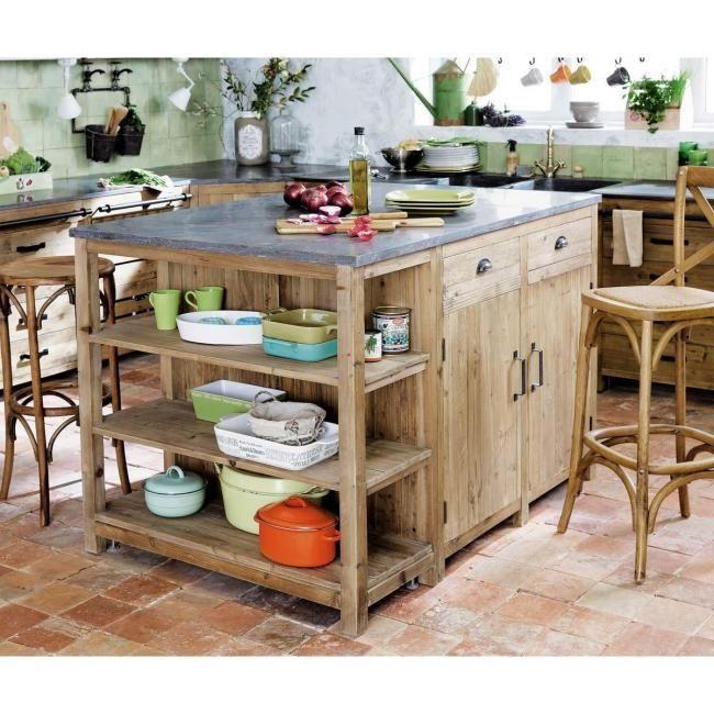 Islas De Cocina De Pequeño Tamaño De Maisons Du Monde Maison - Maison du monde meuble de cuisine pour idees de deco de cuisine