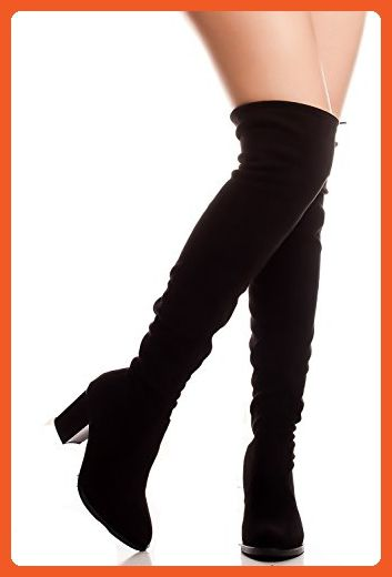 FOREVER LINK FAUX SUEDE OVER KNEE CHUNKY HEEL BACK LACE BOOT 75 black -  Boots for women ( Amazon Partner-Link) 05998b2915