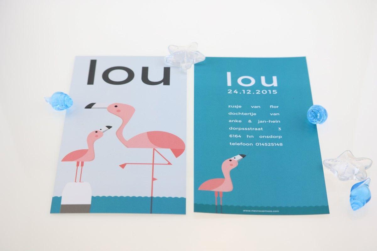 geboortekaartje flamingo | Originele geboortekaartjes