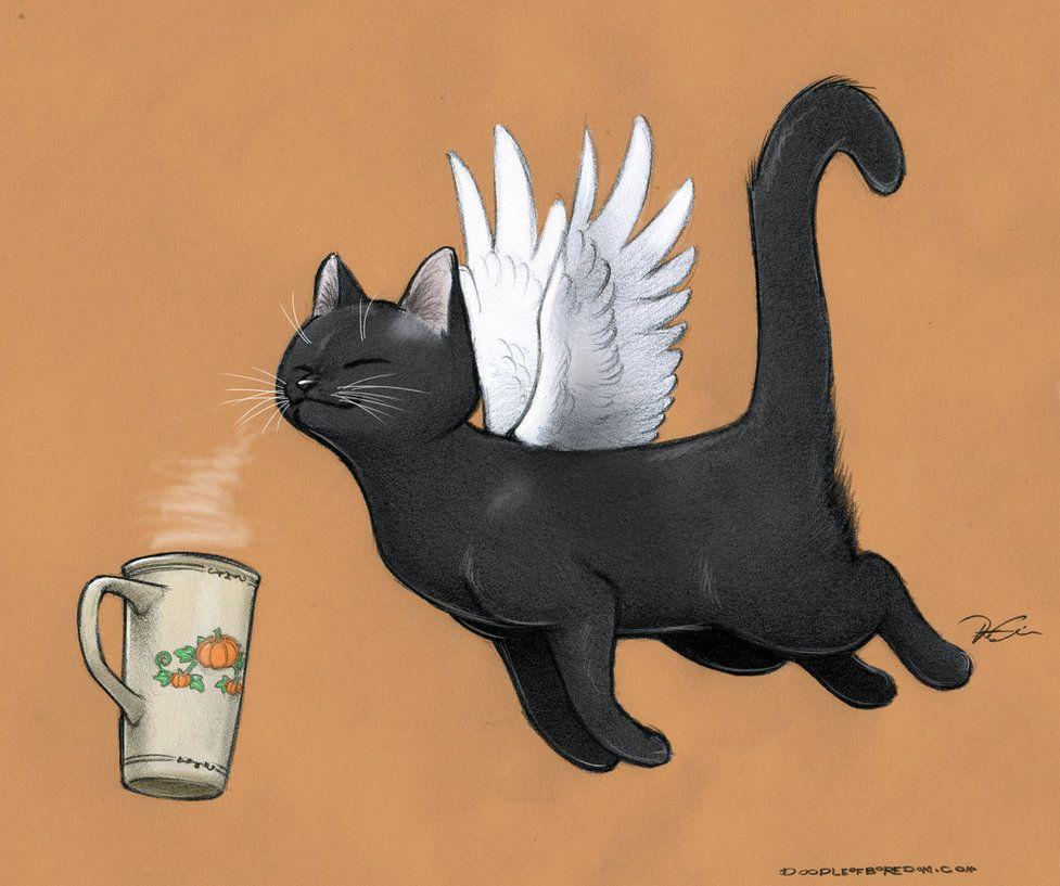 Pumpkin Spice Caffeine Cat by RobtheDoodler on deviantART
