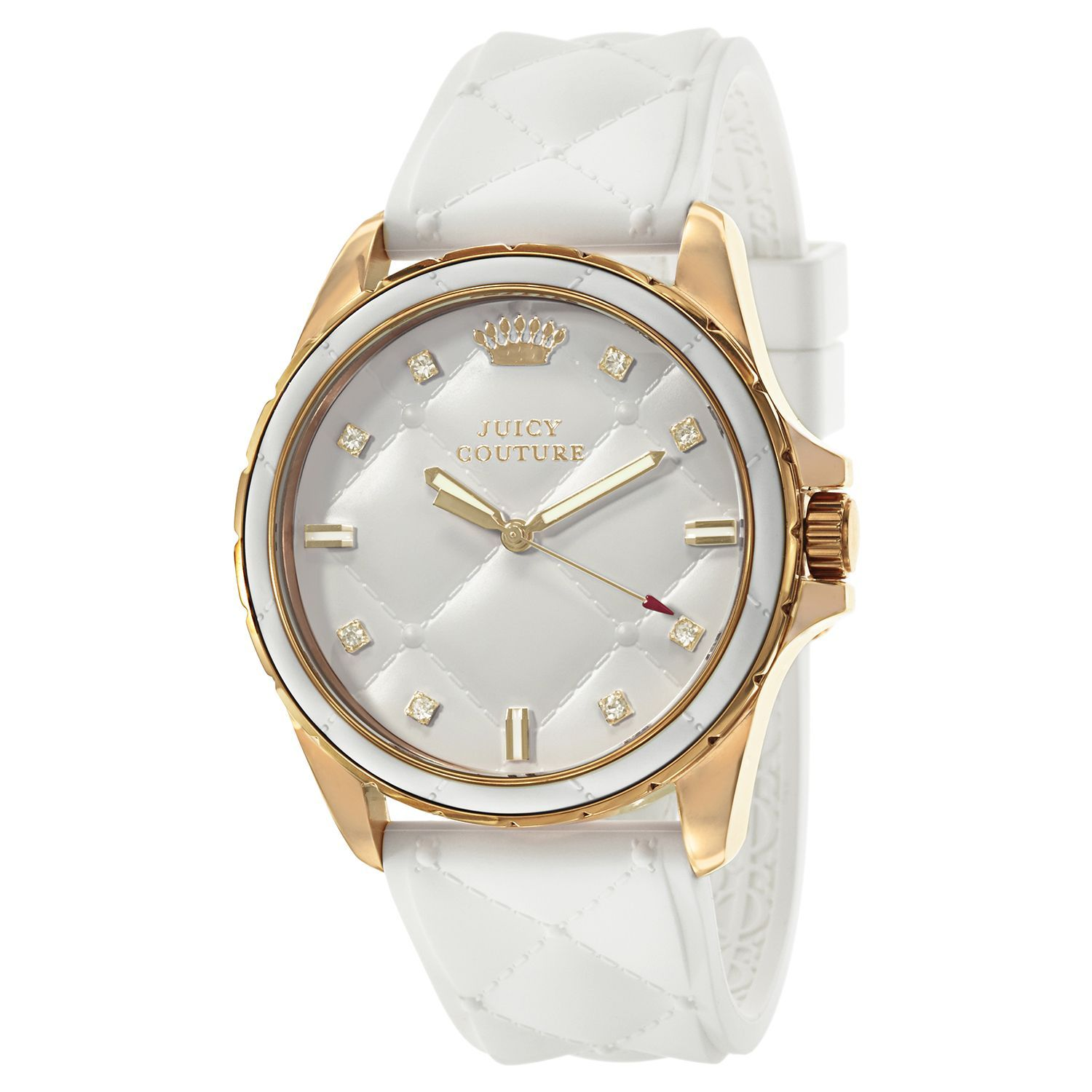 Feel stylish with this women's white dial watch. Finished with decorative crystals and protected by a 30 meters water resistance.