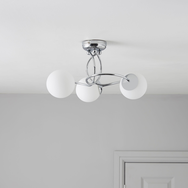 Bedroom Lights B Q: Colours Cygnus 3 Semi Flush Ceiling Light