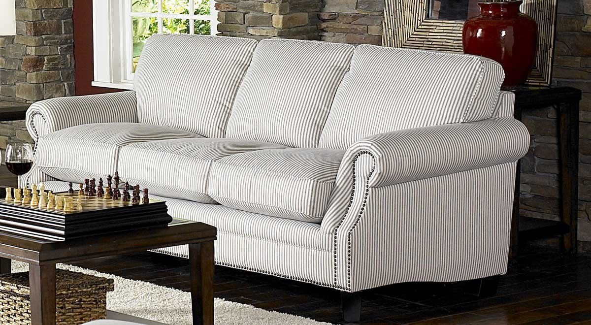 blue stripe sofas White & Blue Striped Fabric Cottage