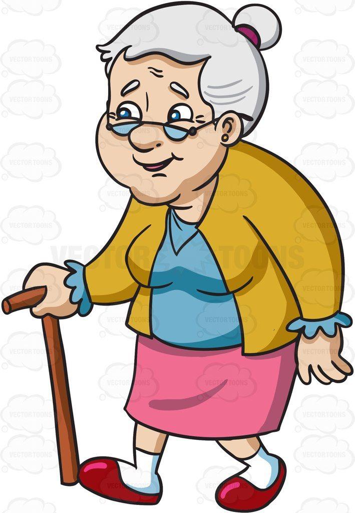 A smiling female senior citizen with glasses #cartoon # ...